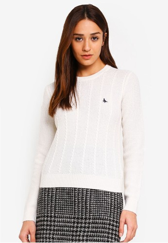 Jack Wills white Tinsbury Cable Crew Pullover 1E827AA451BDF1GS_1