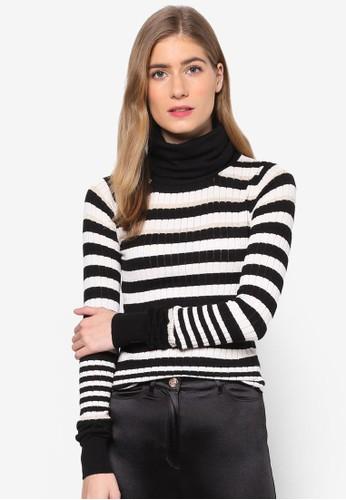 Ayda 撞色條紋高領長袖esprit 京站衫, 服飾, 連帽上衣及外套