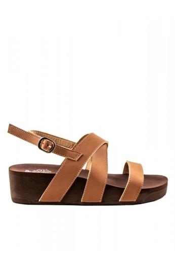 Otto brown Cross Strap Slingback Sandals E337BSHB28CB4CGS_1