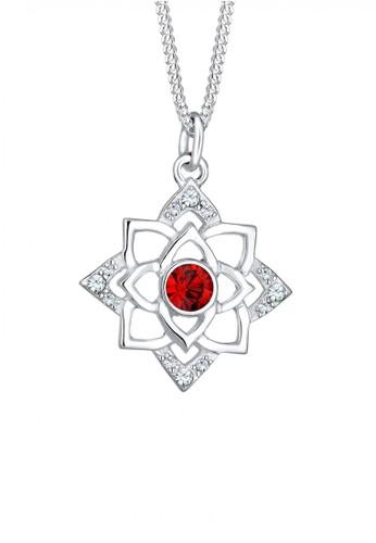 Elli Germany red Perhiasan Wanita Perak Asli - Silver Kalung Birthstone January Crystal EL948AC63EXGID_1