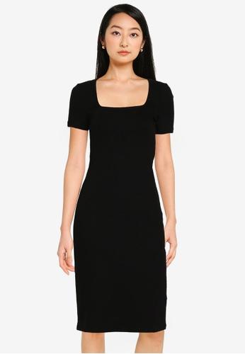 Noisy May black Nicoline Short Sleeves Square Neck Dress 7060FAA540D0ACGS_1