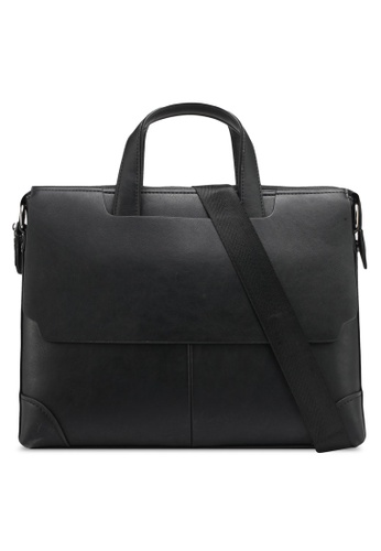 ZALORA black Structured Briefcase With Flap Front DBE3AZZ462CD87GS_1