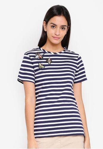 Dorothy Perkins 海軍藍色 Navy Stripe Embellished T-shirt D0F58AA9922FBFGS_1