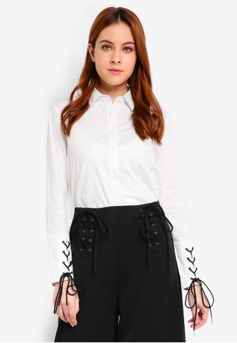 Zalia white Laced Up Cuff Dip Hem Shirt 28EC2AA3831542GS_1