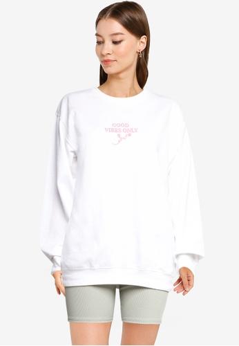 Miss Selfridge blue Lilac Good Vibes Only Sweatshirt 67A3FAA6A1F140GS_1