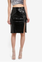Something Borrowed black Patent Leather Skirt with Zip Detail F080FAA72CA6E2GS_1