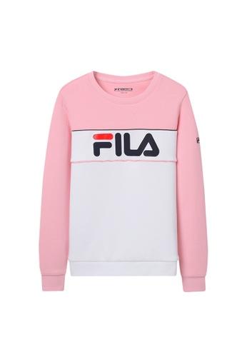 FILA white and pink FILA KIDS FILA Logo Colour Blocks Sweatshirts 6-15yrs B8F43KA9D33644GS_1