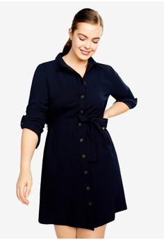 ce12883252254 Violeta by MANGO navy Plus Size Bow Shirt Dress 598D1AA4FC74F7GS 1