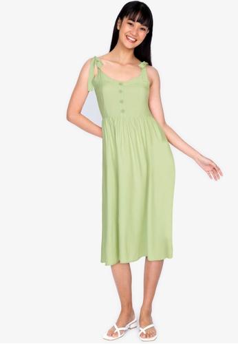 ZALORA BASICS 綠色 綁帶無袖洋裝 5977AAA190E311GS_1