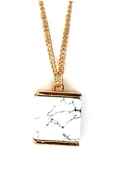 Squared Marble Long Necklace