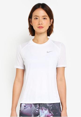Nike white Women's Nike Miler Short Sleeve Running Top 3CC13AA7D4B35EGS_1