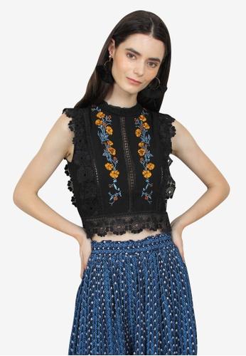 Caoros black Embroidered Lace Top 7FCBDAA05F993AGS_1