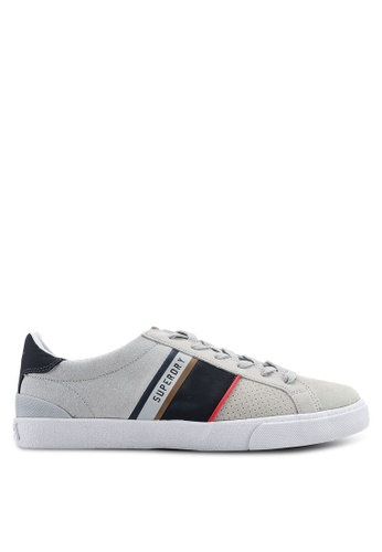 Superdry grey Vintage Court Retro Trainers EE37FSHED3D8A2GS_1