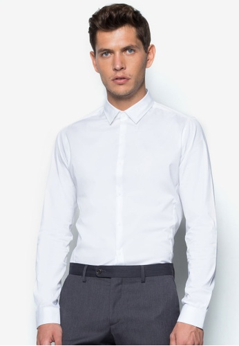 Topman white White Long Sleeve Stretch Smart Shirt TO250AA85ENASG_1