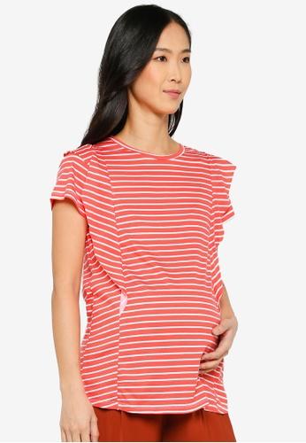 LC Waikiki orange Maternity Striped Cotton T-Shirt C0F6EAAC4F314AGS_1