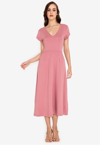 ZALORA WORK pink V Neck Ottoman Dress 49223AAE05C5F6GS_1
