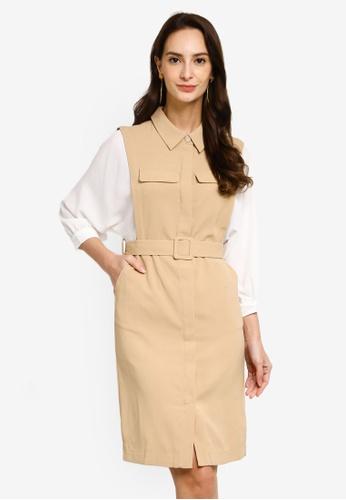 Hopeshow brown Spliced Batwing Sleeve Mini Dress 7DAC6AAEED5722GS_1