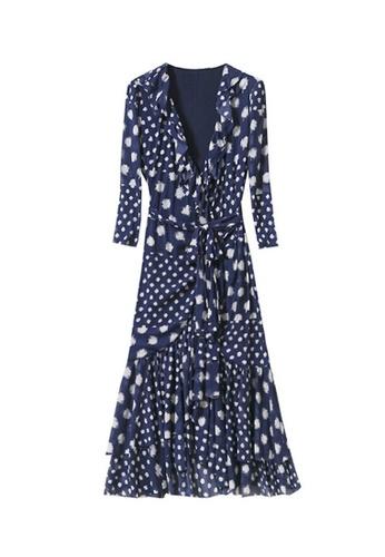 Twenty Eight Shoes navy VANSA Dotted Print Wrap Dress  VCW-D03 3F57DAA2A29E9FGS_1