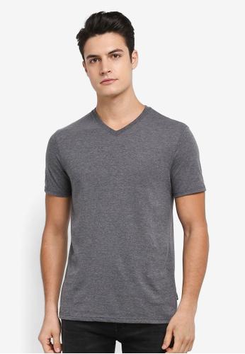Burton Menswear London grey Charcoal V-Neck T-Shirt 868D9AA73679ACGS_1
