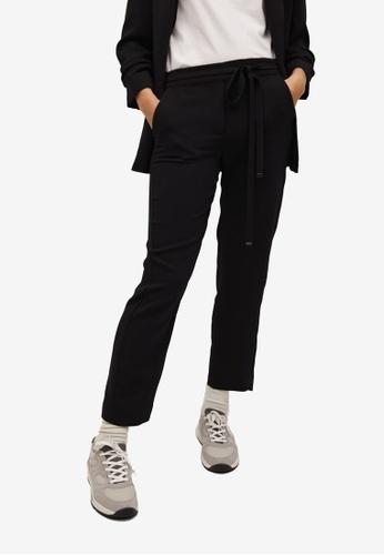 Mango black Belt Flowy Trousers 0079FAAA9977BEGS_1