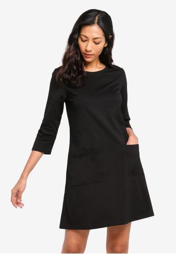 ZALORA BASICS black Basic Pocket Front Swing Dress 13F3AAAE48AD16GS_1