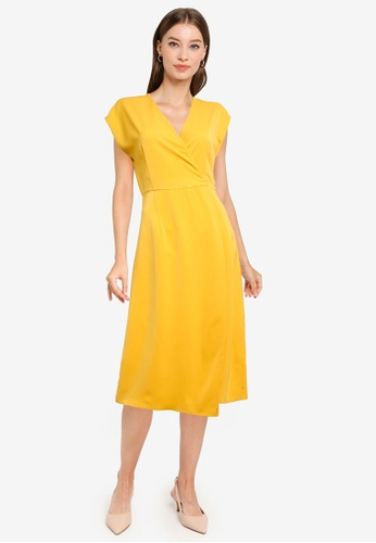 ZALORA WORK yellow Wrap Midi Dress 243F7AA1D172F1GS_1
