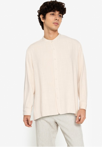ZALORA BASICS beige Boxy Curve Hem Collarless Shirt C8EAFAA0878F87GS_1