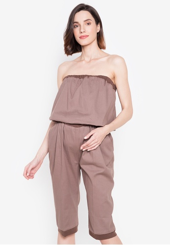 Mommy Plus brown Nadia Cropped Maternity Jumpsuit 37C4DAA02F9880GS_1