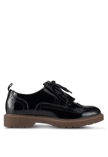 ONLY 黑色 漆皮綁帶牛津鞋 2B4BASHFC58E51GS_1