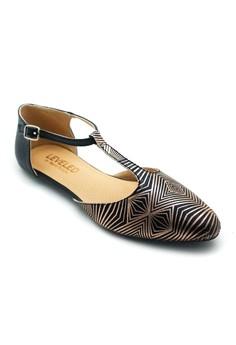 Metallic T Strap Closed Toe Sandals