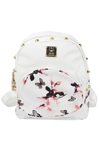 OOTD white Floral Studs Leather Backpack OO654AC54LPXPH_1