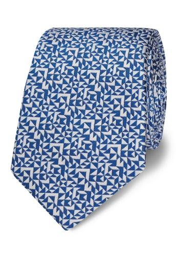 T.M. LEWIN blue T.M.Lewin Royal Blue Abstract Triangle Silk Slim Tie 92849AC1BD36EFGS_1