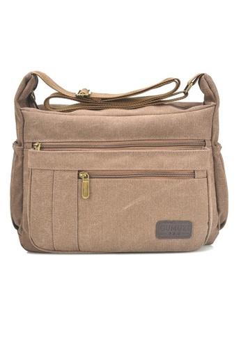 Jackbox brown GMZ Korean Fashion Classic Canvas Messenger Bag Sling Bag 338 (Brown) JA762AC54KRXMY_1