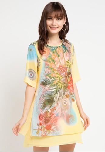BRILLIANT GIRL yellow and multi Minidress Ceruti Flower 26876AAA84B705GS_1