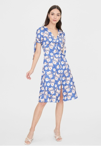 Pomelo blue Front Slit Tie Short Sleeves Dress - Blue 43F5BAA4AB6D5AGS_1