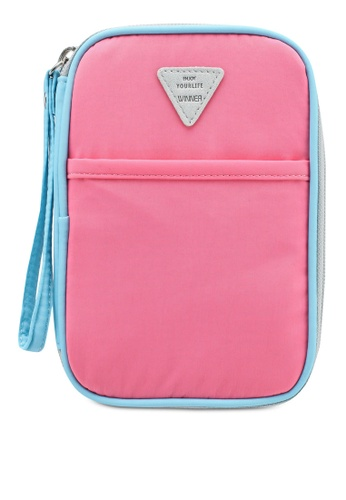 Bagstationz pink Colour Block Travel Zip-Up Passport Pouch 0933FAC091DCDBGS_1