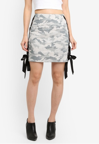 Something Borrowed green Fitted Lace-up Mini Skirt ECFB9AAA0AF2AAGS_1