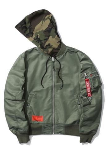 izzue green Camo hood zip jacket 54B2CAA8D8DD2FGS_1