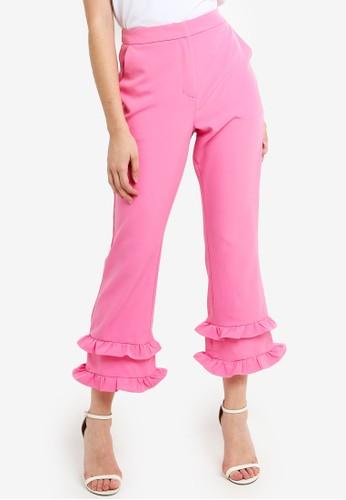 Glamorous pink Wide Leg Ruffle Trousers 3A890AA39157BCGS_1