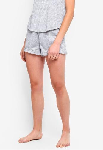 Cotton On Body grey Rib Frill Shorts EF550AA72E9ED2GS_1