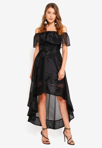 Preen & Proper black Off Shoulder Dip Back Dress 7260EAA0D0A3D3GS_1