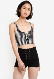 TOPSHOP black Stripe Lace Up Bralet TO412AA56VVFMY_1