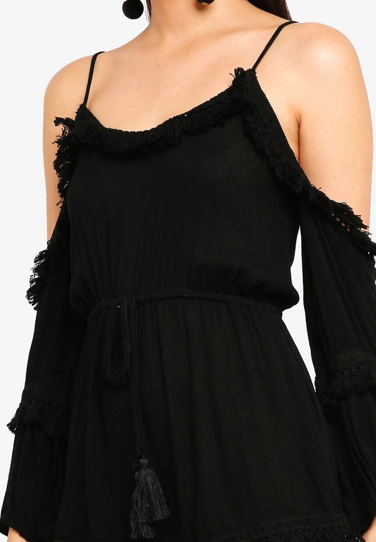 Hem INDIKAH Long Shoulder Playsuit Sleeve Fringe Black Cold wqX4Wq6cO