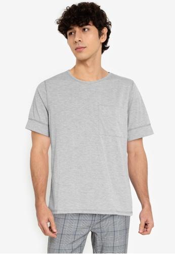 ZALORA BASICS grey Expose Stitch T-Shirt 42677AAC2D2EE3GS_1
