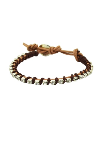 Fur Nyce brown Rhinestone Leather Wrap Bracelet FU779AC68SUXMY_1