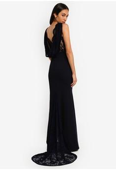Bridesmaids Lace Cowl Back Maxi Dress