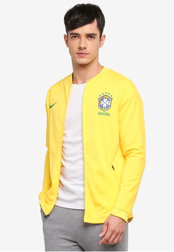 Nike green and gold Men's Nike Brasil CBF Squad Football Jacket D4082AAB0F6B21GS_1