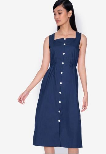 ZALORA BASICS navy Button Down Midi Dress A7BA7AAD37E5B5GS_1