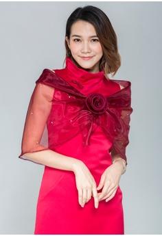 玫瑰花絲瓜領紗披肩