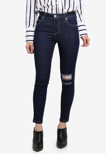 Cotton On blue Mid Rise Grazer Skinny Jeans ADE71AA876BB30GS_1